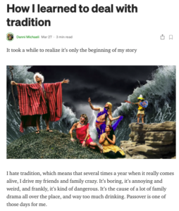Image of an article posted on Medium.com with a picture of a man comedically dressed up as Moses parting the red sea